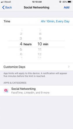 social networking limit iphone parental controls